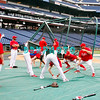 30 September 2008: The Phillie's loosen up early in the afternoon with some exercises. The Philadelphia Phillie's and Milwaukee Brewers took the day before the first play off game to hold press conferences and a light field workout at Citizens Bank Stadium in Philadelphia,  PA