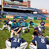 30 September 2008: The Milwaukee Brewers stretch and get loose on the field before working out. The Philadelphia Phillie's and Milwaukee Brewers took the day before the first play off game to hold press conferences and a light field workout at Citizens Bank Stadium in Philadelphia,  PA