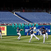 30 September 2008: The Milwaukee Brewers work out in the outfield. The Philadelphia Phillie's and Milwaukee Brewers took the day before the first play off game to hold press conferences and a light field workout at Citizens Bank Stadium in Philadelphia,  PA