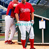 30 September 2008: Phillies pitcher Joe Blanton (56) waits to take batting practice as Manger Charlie Manuel watches. The Philadelphia Phillie's and Milwaukee Brewers took the day before the first play off game to hold press conferences and a light field workout at Citizens Bank Stadium in Philadelphia,  PA