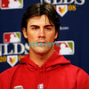 30 September 2008: Cole Hamels, the Phillie's play off starting pitcher at an early media conference. The Philadelphia Phillie's and Milwaukee Brewers took the day before the first play off game to hold press conferences and a light field workout at Citizens Bank Stadium in Philadelphia,  PA