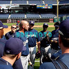 """30 September 2008: The Milwaukee Brewers gather together for a short 'Team Meeting"""" with interim Manger Dale Sveum (C) on the field before working out. The Philadelphia Phillie's and Milwaukee Brewers took the day before the first play off game to hold press conferences and a light field workout at Citizens Bank Stadium in Philadelphia,  PA"""