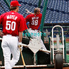 30 September 2008: Phillies pitcher Jamie Moyer(50) waits to take batting practice as pitcher Brett Myers (39) works out in the batting cage. The Philadelphia Phillie's and Milwaukee Brewers took the day before the first play off game to hold press conferences and a light field workout at Citizens Bank Stadium in Philadelphia,  PA