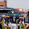 30 September 2008: The Milwaukee Brewers gather and loosen up  on the field before working out. The Philadelphia Phillie's and Milwaukee Brewers took the day before the first play off game to hold press conferences and a light field workout at Citizens Bank Stadium in Philadelphia,  PA
