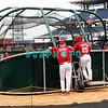 30 September 2008: Phillie's Manager Charlie Manuel (41) and hitting coach Milt Thompson (25) watch and talk during the teams batting practice. The Philadelphia Phillie's and Milwaukee Brewers took the day before the first play off game to hold press conferences and a light field workout at Citizens Bank Stadium in Philadelphia,  PA