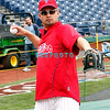 30 September 2008: Shane Victorino lossens up with the team in the early afternoon. The Philadelphia Phillie's and Milwaukee Brewers took the day before the first play off game to hold press conferences and a light field workout at Citizens Bank Stadium in Philadelphia,  PA
