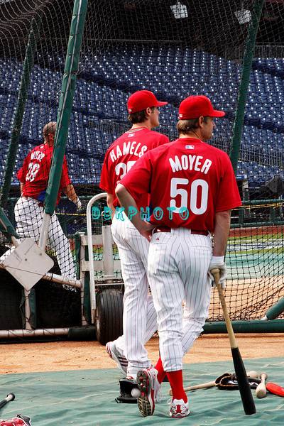 30 September 2008:  Phillies pitchers Cole Hamels (35) and Jamie Moyer (50) wait thier turn as pitcher Brett Myers takes batting practice. The Philadelphia Phillie's and Milwaukee Brewers took the day before the first play off game to hold press conferences and a light field workout at Citizens Bank Stadium in Philadelphia,  PA