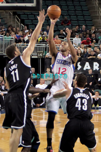 OCTOBER 13, 2012, Boardwalk Hall, Atlantic City, NJ. The Philadelphia 76er's played an exhibition game against the Brooklyn Nets. The Brooklyn Nets defeated the 76er,s 108 - 105.