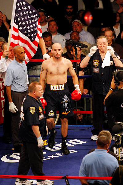 18 October 2008: Kelly Pavlik (black trunks) enters the ring for his 12 round bout with Bernard Hopkins in Atlantic City, New Jersey. Hopkins won by decision