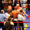 18 October 2008: Kelly Pavlik (black trunks) yells at Bernard Hopkins (black trunks, white trim) who is being held by the referee after Pavlick hit Hopkins after the bell ending thier 12 round bout in Atlantic City, New Jersey.  Hopkins won by decision