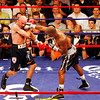 18 October 2008: Kelly Pavlik (black trunks) takes a right to the head from Bernard Hopkins (black trunks, white trim) during their 12 round bout in Atlantic City, New Jersey.  Hopkins won by decision