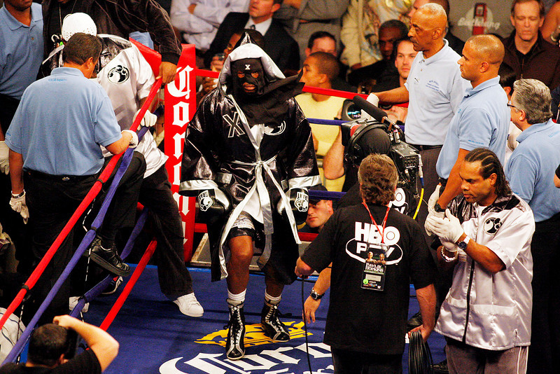 18 October 2008: Bernard Hopkins wearing a mask and robe enters the ring for his 12 round bout with Kelly Pavlok in Atlantic City, New Jersey.  Hopkins won by decision