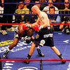 18 October 2008: Kelly Pavlik (black trunks) misses with a right as Bernard Hopkins (black trunks, white trim) ducks during their 12 round bout in Atlantic City, New Jersey.  Hopkins won by decision
