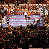 18 October 2008: Kelly Pavlik (black trunks) and Bernard Hopkins (black trunks, white trim) take to the ring for the opening round  of their 12 round bout in Atlantic City, New Jersey. Hopkins won by decision