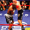 18 October 2008: Kelly Pavlik (black trunks) lands a left to the head of Bernard Hopkins (black trunks, white trim) during their 12 round bout in Atlantic City, New Jersey.  Hopkins won by decision