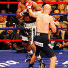 18 October 2008: Kelly Pavlik (black trunks) lands a left on Bernard Hopkins (black trunks, white trim) during their 12 round bout in Atlantic City, New Jersey.  Hopkins won by decision