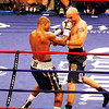 18 October 2008: Kelly Pavlik (black trunks) takes a right to the head from Bernard Hopkins (black trunks, white trim) during their 12 round bout in Atlantic City, New Jersey Hopkins won by decision