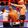 18 October 2008: Kelly Pavlik (black trunks) lands a punch on Bernard Hopkins (black trunks, white trim) after the final bell of the bout during their 12 round bout in Atlantic City, New Jersey.  Hopkins won by decision