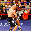 18 October 2008: Kelly Pavlik (black trunks) and Bernard Hopkins (black trunks, white trim) exchage punches during their 12 round bout in Atlantic City, New Jersey Hopkins won by decision