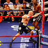 18 October 2008: Kelly Pavlik (black trunks) misses Bernard Hopkins (black trunks, white trim) with a left during their 12 round bout in Atlantic City, New Jersey Hopkins won by decision