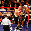 18 October 2008: Kelly Pavlik (black trunks) pins Bernard Hopkins (black trunks, white trim) against the ropes during their 12 round bout in Atlantic City, New Jersey.  Hopkins won by decision