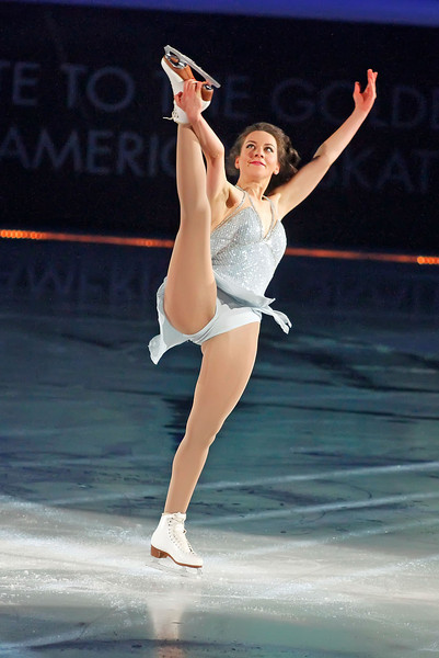 "ATLANTIC CITY, NJ - DECEMBER 11:  Sarah Hughes skates at 'A Salute to the Golden Age of American Skating""  at Boardwalk Hall Arena on December 11, 2010 in Atlantic City, New Jersey."