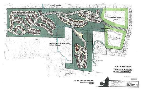 Matzel and Mumford's Bel Aire Lux.Town Homes, West Orange, NJ. Land Use Planning and design participation. Original approval for SFD, amended to town homes for woodland preservation.