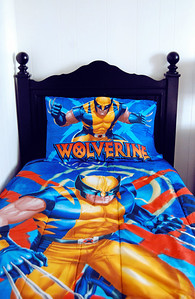 January 21st - 021/365  Its bedding fit for a superhero! Mom picked up some Wolverine sheets and a new comforter for Andrew yesterday. I promised if he was good at school, he just might come home to a new superhero bed.  This bedding set is completely PERFECT for my super boy!