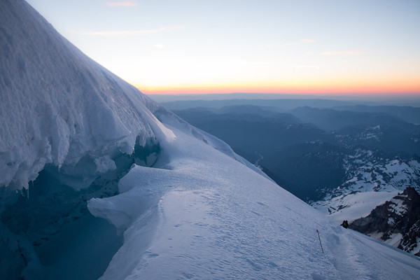 CREVASSE AT SUNRISE