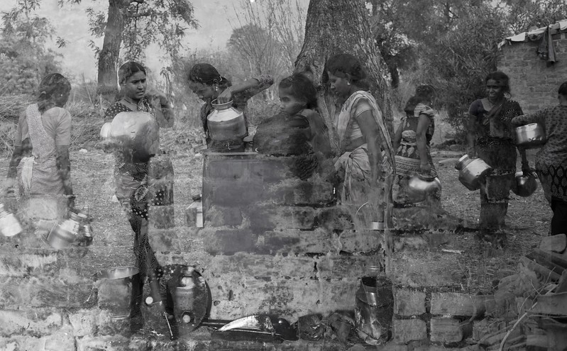 Women usually walk up to 3 km to fetch water for the family to meet the bare minimum need of daily chores. Using toilets or taking a bath is a luxury they can't afford. There is no water in schools for kids, and they often come back to home for water and fields for toilet.