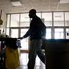With the students already gone for the day, Collis Crayton starts cleaning bathrooms, hallways and classrooms at Decatur High School Thursday, January 15, 2009.