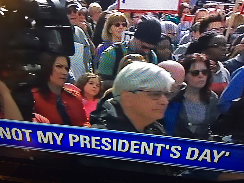 Screen shot of Fox News broadcast 2/20/2017 following the rally in Chicago.  Michelle Gallardo, ABC 7 in red behind the author.