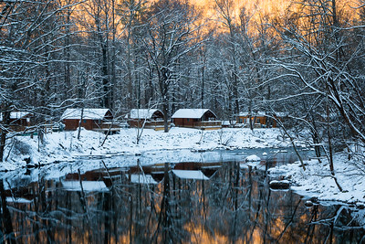 Snowy Cabins at Sunset - Deede Denton  Score:  9