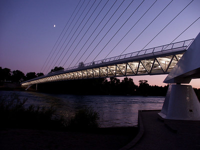 "Jim Griffith - "" Sundial Pedestrian Bridge at Dusk"""
