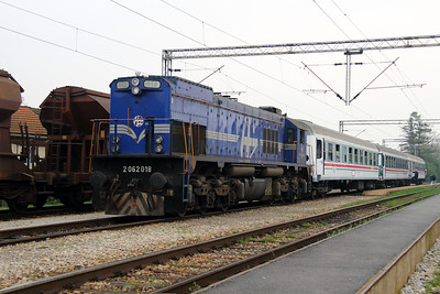 2062 018 (98 78 2062 018-3) at Ivanic Grad on 6th April 2014 working railtour