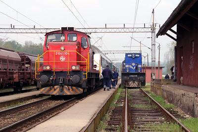 1) 2041 104 (98 78 2041 104-7) at Banova Jaruga on 6th April 2014 working railtour