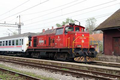 2) 2041 104 (98 78 2041 104-7) at Banova Jaruga on 6th April 2014 working railtour