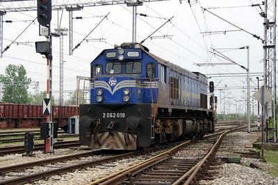 2) 2062 018 (98 78 2062 018-3) at Zagreb Ranzirni Kolodvor on 6th April 2014 working railtour