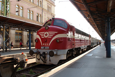 M61 001 at Budapest Keleti on 3rd July 2015 working PTG Railtour