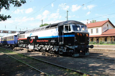 Floyd, 659 002 (92 55 0659 002-3 H-FLOYD ex UK 56 115) at Rakospalota Ujpest on 3rd July 2015 working PTG Railtour (2)