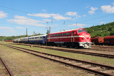 M61 001 at Diosgyor on 3rd July 2015 working PTG Railtour (5)