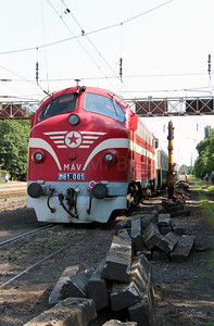 M61 001 at Rakospalota Ujpest on 3rd July 2015 working PTG Railtour (2)