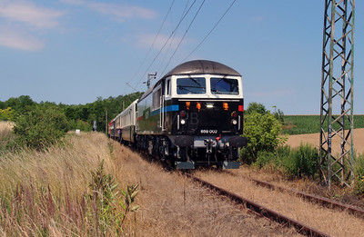 Floyd, 659 002 (92 55 0659 002-3 H-FLOYD ex UK 56 115) between Vacratot and Galgamacsa on 3rd July 2015 working PTG Railtour (10)