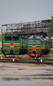 2TE10U 0217 & 2M62 0335 at Daugavpils Depot (Latvia) on 20th May 2013