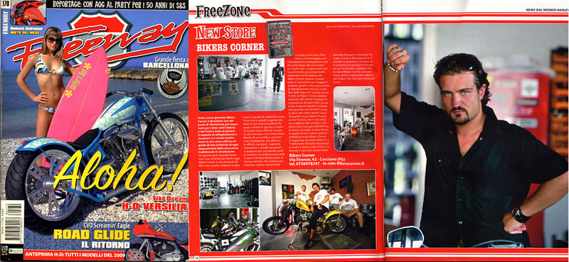 """Freeway Magazine #170<br /> New Store BIKERS CORNER<br /> Pagg.10-11<br /> <br /> <a href=""""http://www.bikerscornermotorcycles.com/default.asp"""">http://www.bikerscornermotorcycles.com/default.asp</a>"""