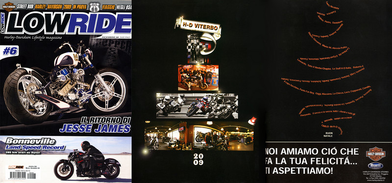 LOWRIDE #6 Dicembre 2008<br /> Pagina pubblicitaria Harley-Davidson Viterbo Like Brothers.