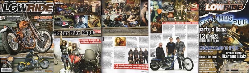LOWRIDE #21 Marzo 2010<br /> <br /> Servizi<br /> Motor Bike Expo Verona<br /> Pagina pubblicità Party Geronimo' Pub per Moto Days Roma