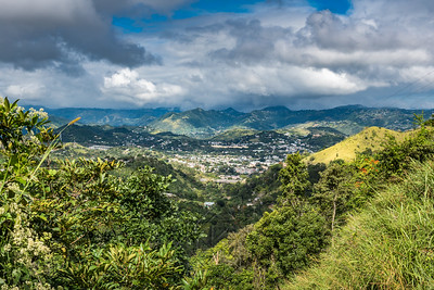 View from above down into a Puerto Rican town in the valley