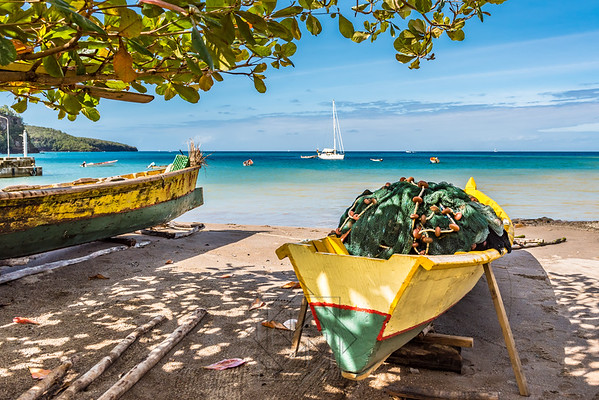 Caribbean bay on St. Lucia with boats