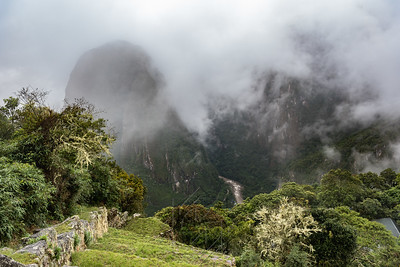 View over the cliff of machu picchu